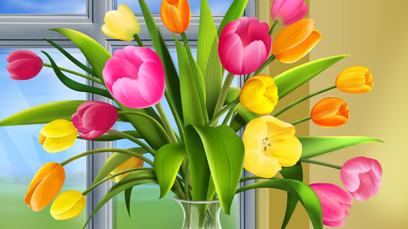 Шпалери ваза тюльпани вікно малюнок