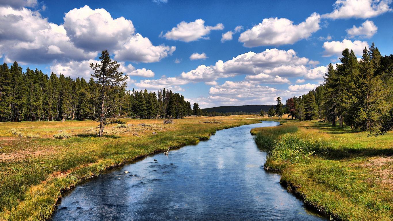 Tapeta řeka, mraky, ovce, příroda, fotografie / příroda