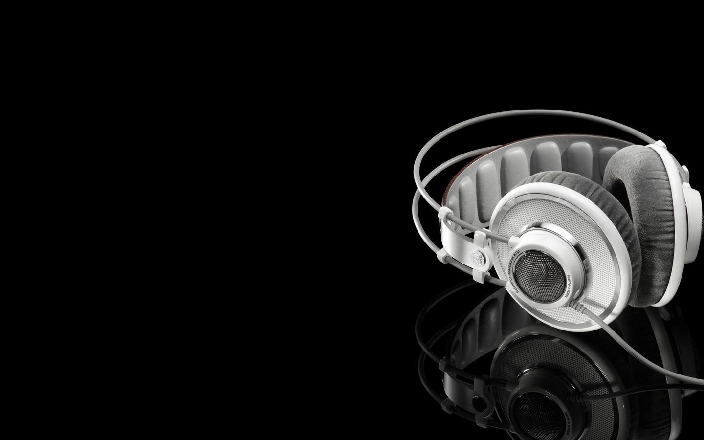 ... la reflexión, auriculares blancos, música, foto 1440x900 / música