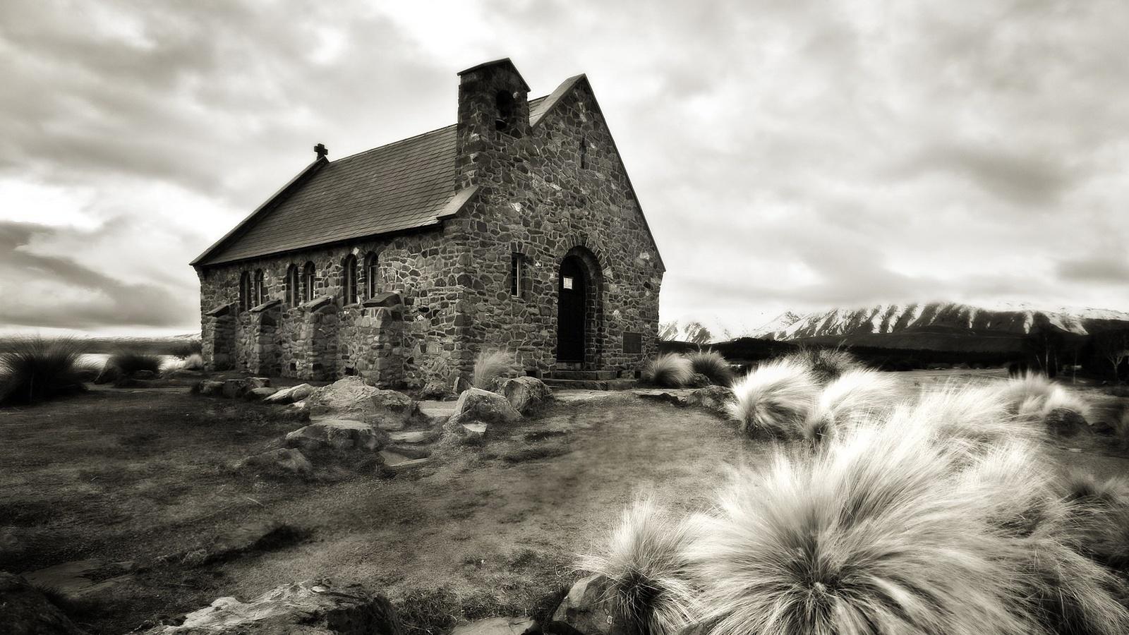 каменный домик, серые кустики, камушки ...: www.nastol.com.ua/download/5796/1600x900