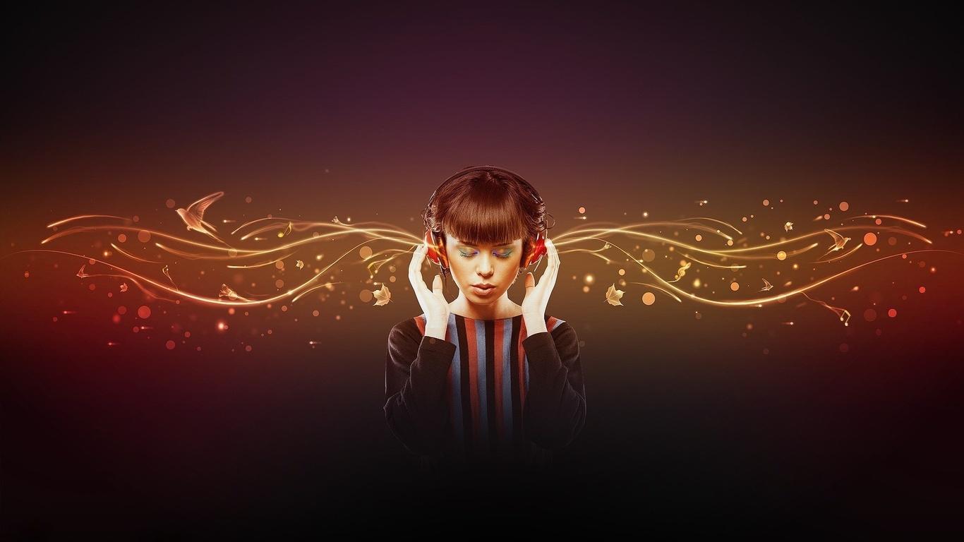 Kulaklık kız güzel canlı müzik fotoğraf müzik