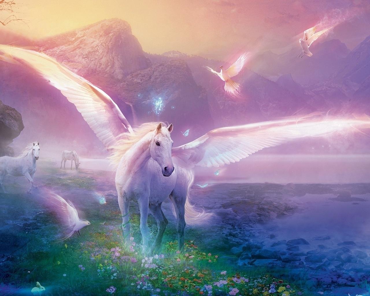 ... , кони, цветы - обои 1280x1024, картинка №8290