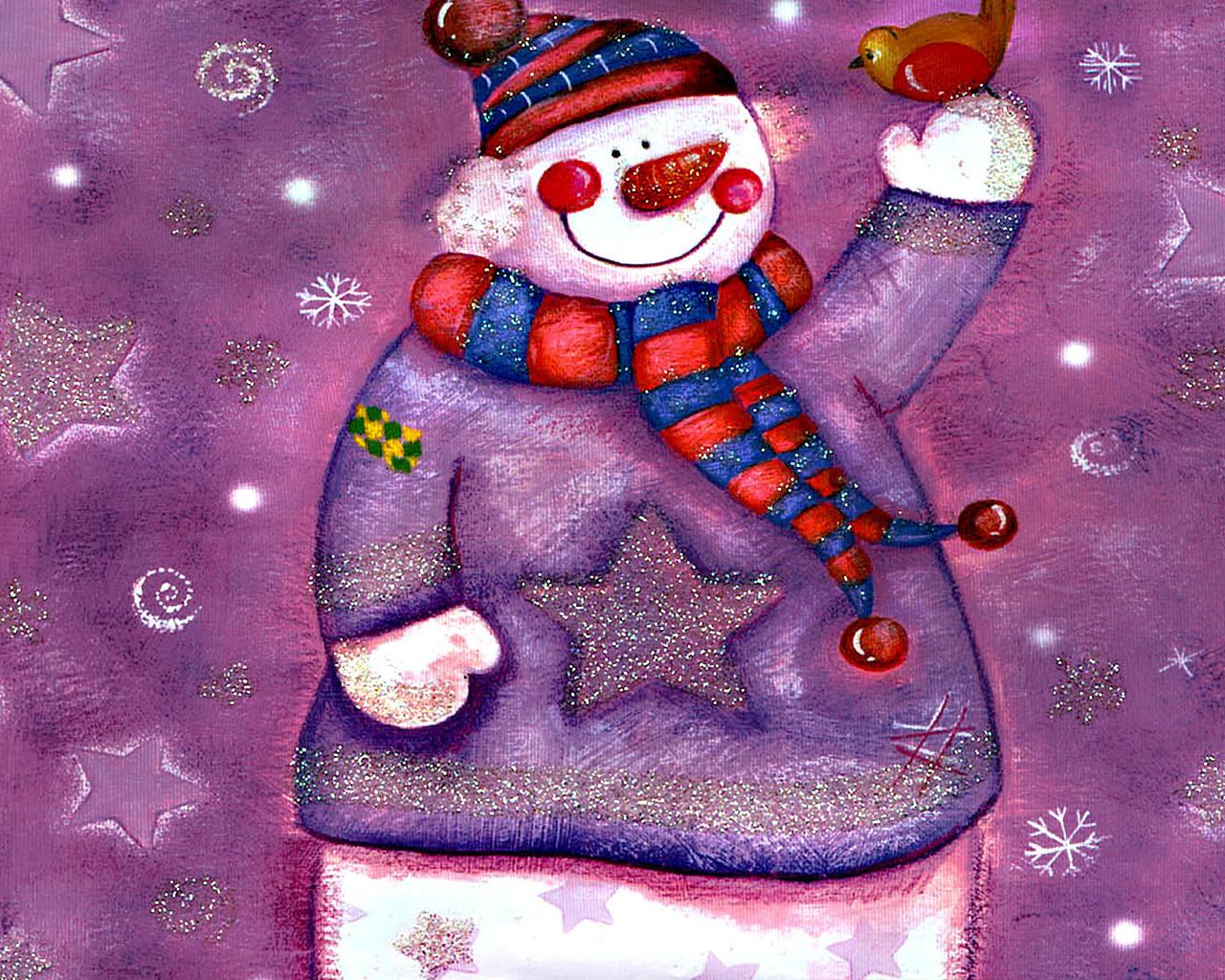 Снеговик улыбка птичка зима рисунок