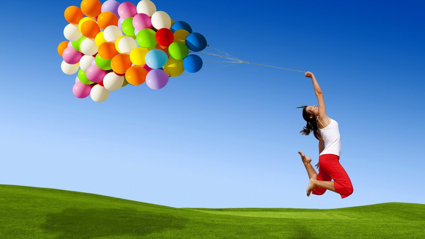 Duvar kağıtları balon renk güzel kız mutlu güzel fotoğraf