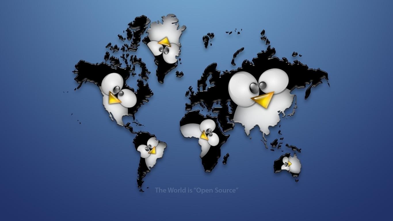 Penguen linux dünya haritası dijital fotoğraf dijital