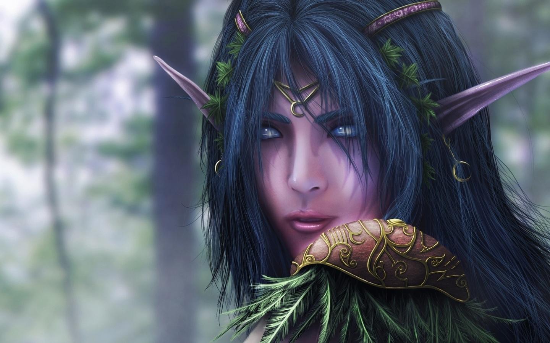 Night elf warcraft fantasy эльфийка фантастика