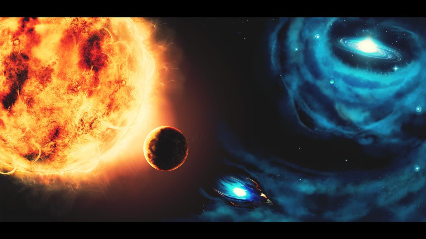 космос, photoshop, Рисунок, планета, солнце: www.nastol.com.ua/download/10797/1366x768