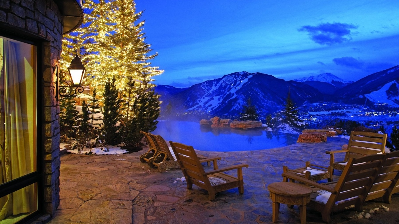 Горы природа beautiful view winter villa hotel snow