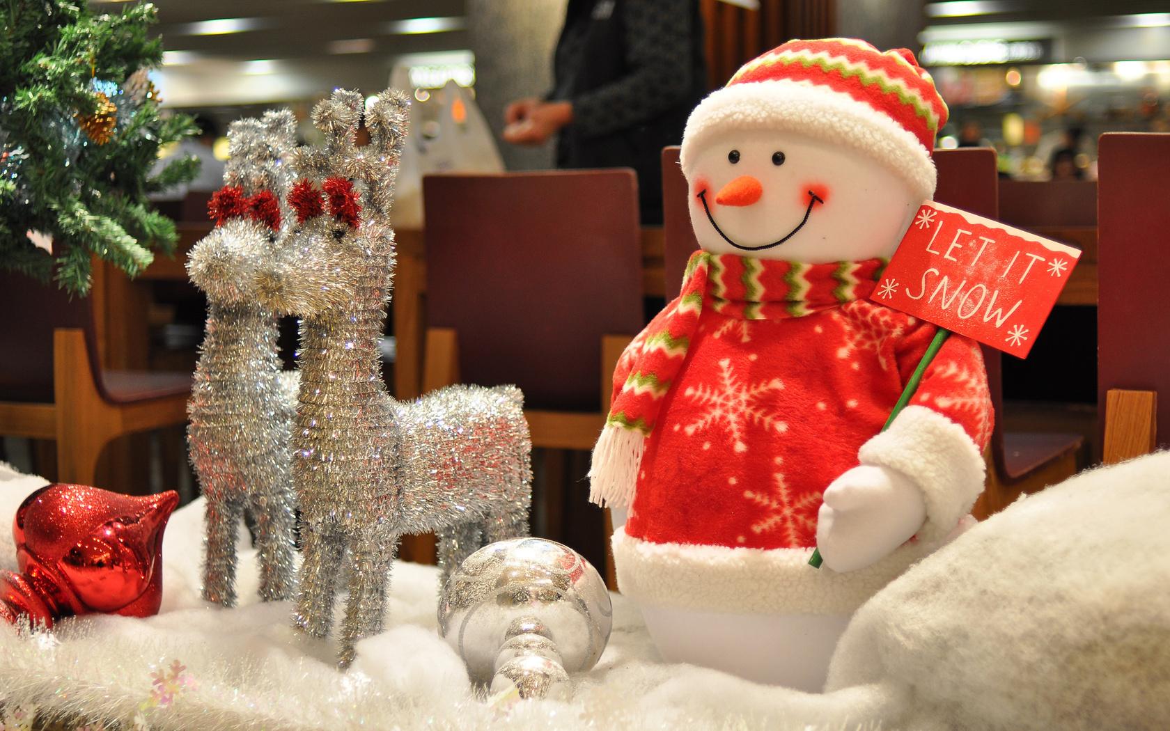 Hd шпалери новорічні іграшки сніговик