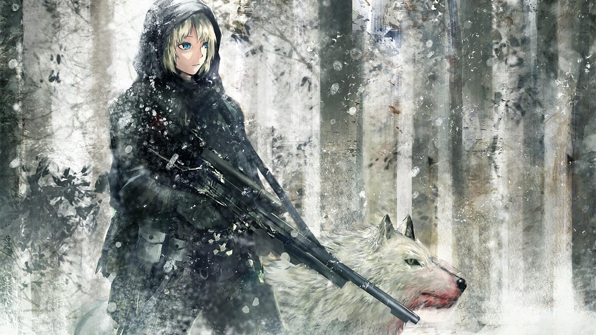 Зима автомат девушка волк рисунок
