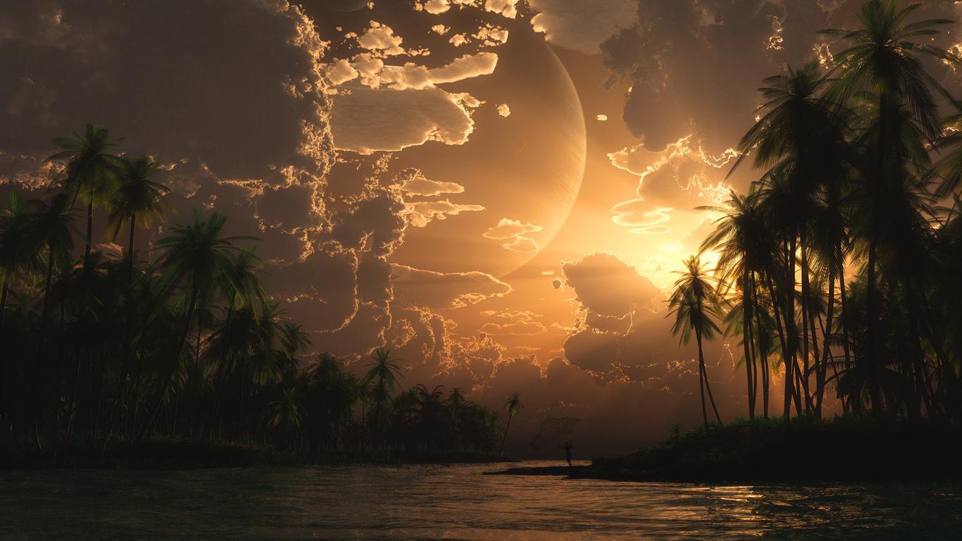 Море острова пальмы the fisherman закат