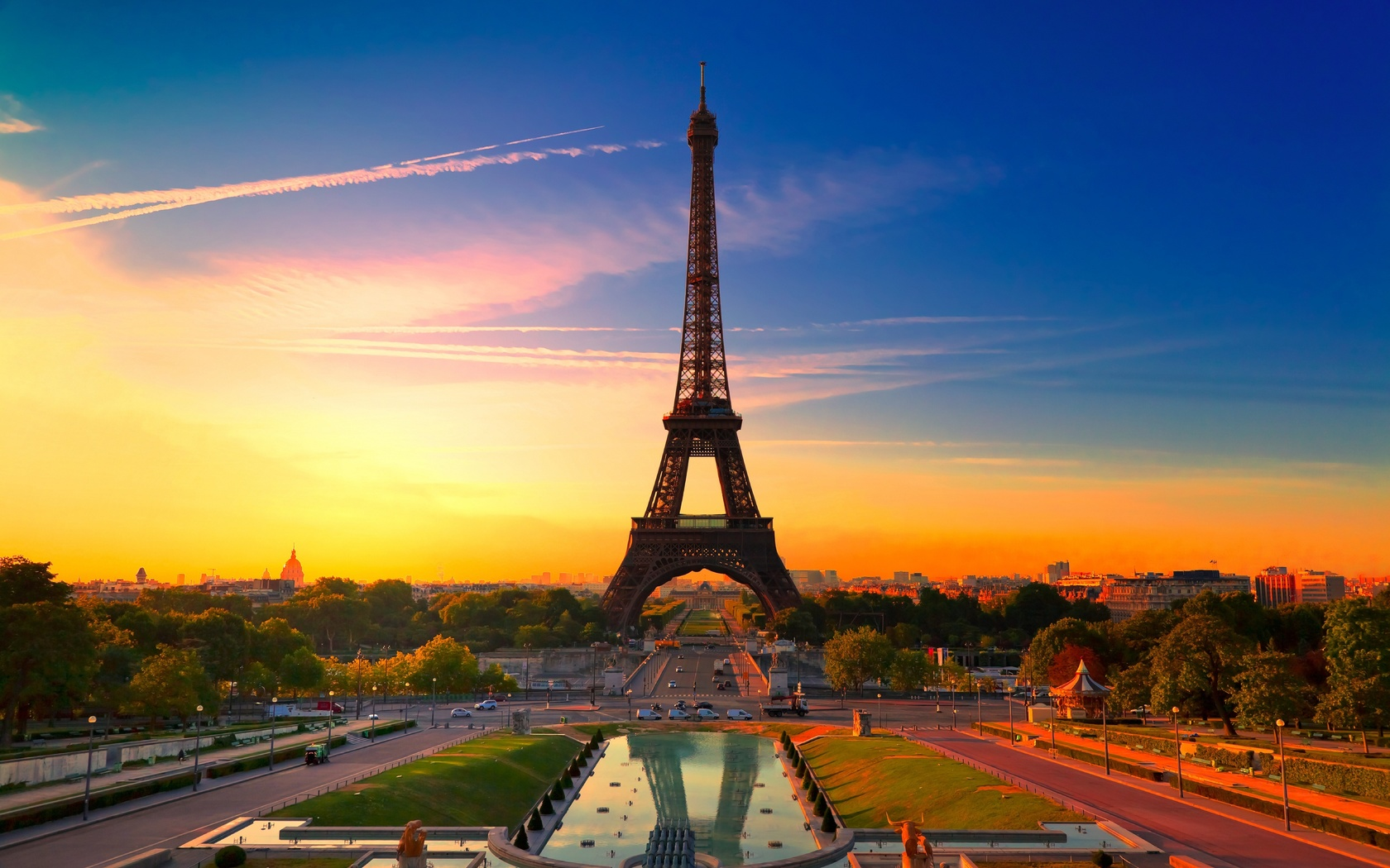 Обои париж beautiful france paris sunset эйфелева
