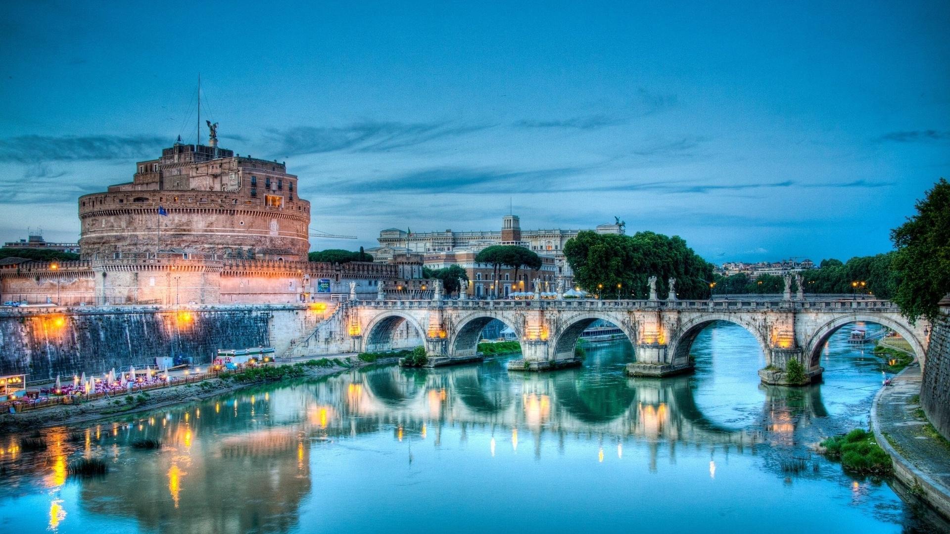 Обои рим замок св ангела мост италия