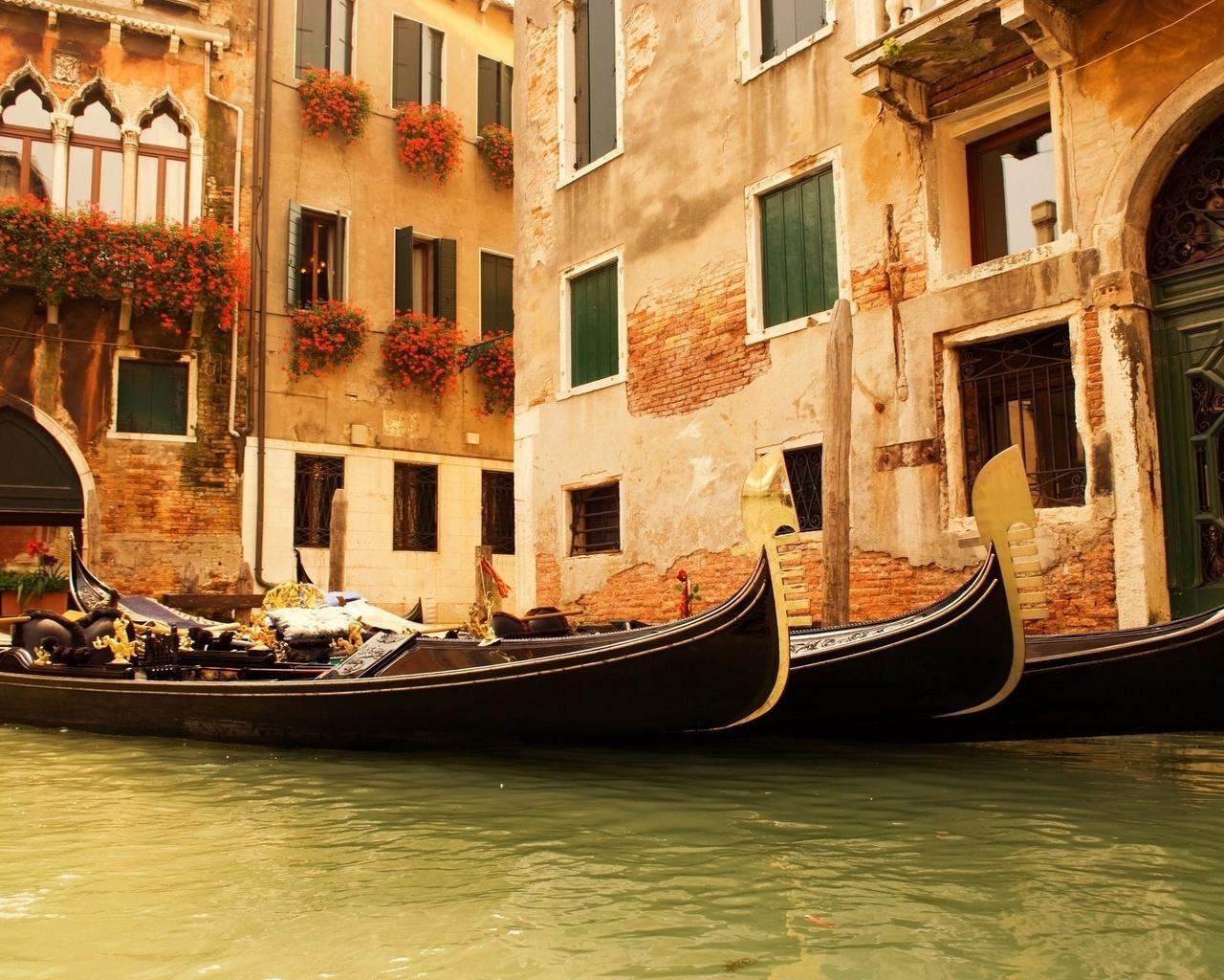 Дома цветы италия вода окна гондолы