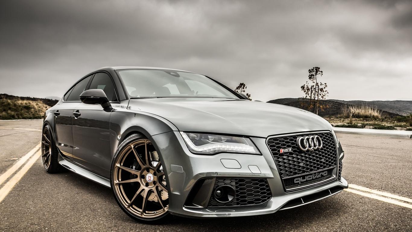 Картинки автомобили Audi серая тюнинг дорога Rs7
