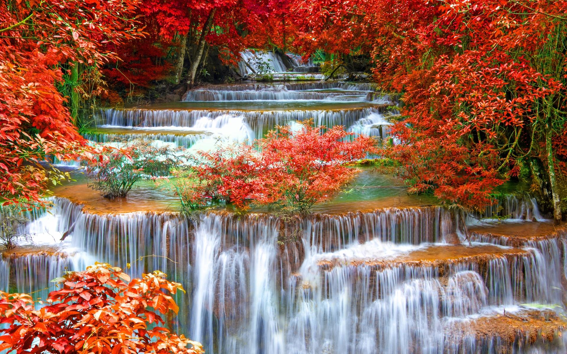 тайланд, река, водопад, лес, осень, красиво, вода, каскады, красиво
